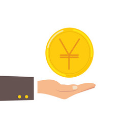 hand hold japanese yen coin isolated on background vector image