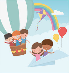 Happy childrens day kids flying with paper plane vector