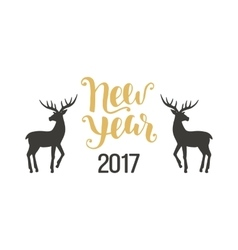 Happy New Year greeting card with hand drawn deers vector image