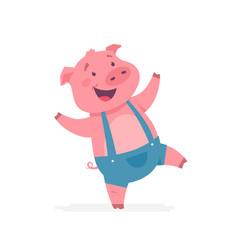 happy pig - modern cartoon character vector image
