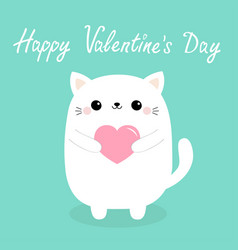 happy valentines day white bacat kitten head vector image