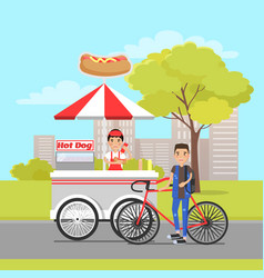 Hot dog van and client on sport bike card vector