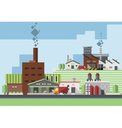Industrial buildings flat vector image
