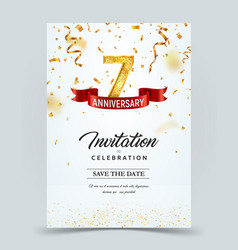Invitation card template 7 years anniversary vector