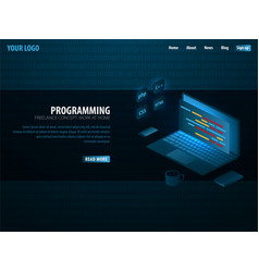 Isometric developing programming and coding vector