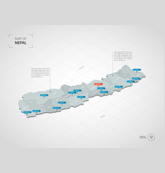 Isometric nepal map with city names and vector