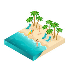 Isometric people 3d girl in bathing suits beach vector