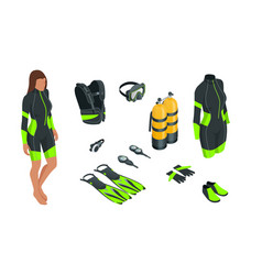 isometric scuba gear and accessories equipment vector image