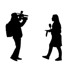 Journalist news reporter crew interview silhouette vector