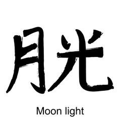 Kanji hieroglyph moon light vector