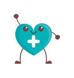Kawaii heart cross care vector