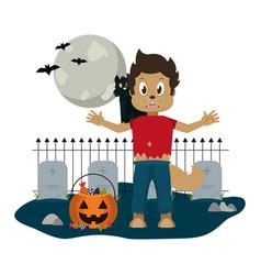 Kid and halloween cartoon vector