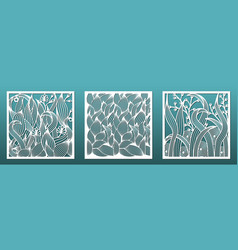 Laser cut panels with floral pattern set vector