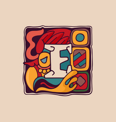 Letter e logo in aztec mayan or incas style vector