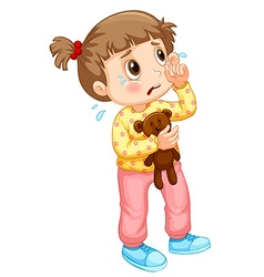Little girl crying with tears vector