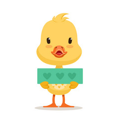 Little yellow duck chick holding blue banner with vector