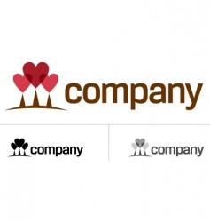 Love heart tree logo vector