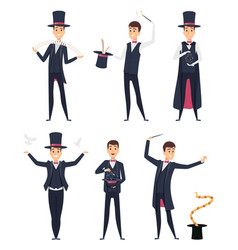 Magician circus showman actor male illusionist vector