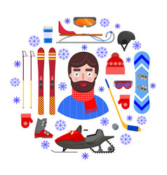 man and winter equipment vector image
