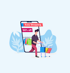 mobile online shopping clothing store vector image