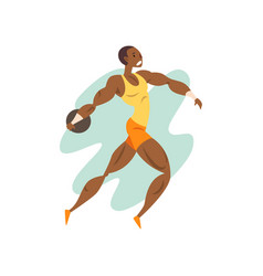 muscular athlete man throwing a kernel vector image