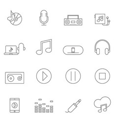 Music icon set outline vector image