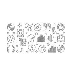 music outline horizontal banner vector image