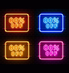 Neon 80 off text banner color set night sign vector
