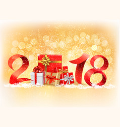 new year background with a 2018 and gift boxes vector image