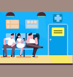 Patients in doctors waiting room in hospital vector