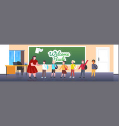 pupils with teacher standing in front chalk vector image