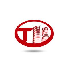 real estate logo template letter t logo vector image