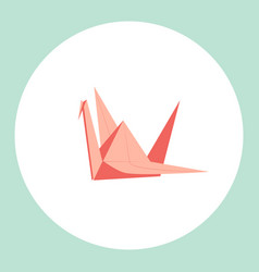 Red paper crane on white background vector