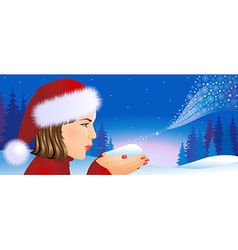 Santa girl on Christmas background vector image