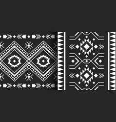 Set ethnic aztec prints tribal geometric vector