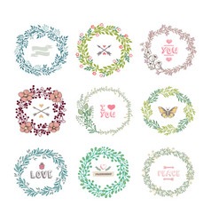 Set of colorful wreath vector