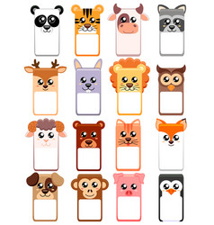 Set text box with animals head for kids zoo vector