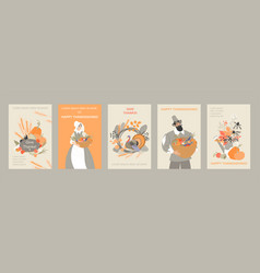 Set thanksgiving banners with cute pilgrim vector