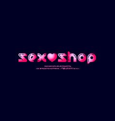 Sexy bold font trendy bright pink alphabet vector