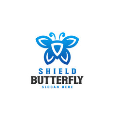 shield butterfly logo template vector image