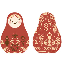 simple stylized matryoshka with floral ornament vector image
