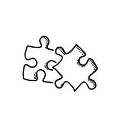 Sketch jigsaw puzzle piece vector