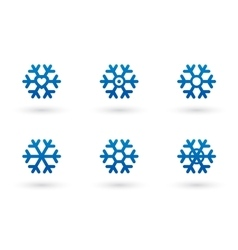 snowflake set with shadow vector image