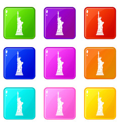 Statue of liberty icons 9 set vector