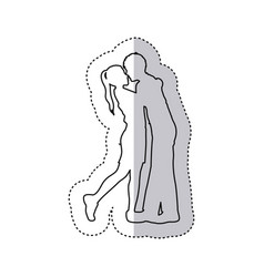 Sticker monochrome contour with couple embracing vector