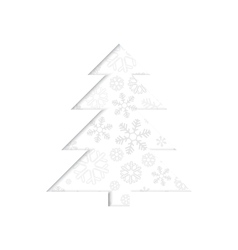 Stylized retro Christmas tree with snowflake vector image