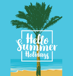 summer travel seascape with palm and inscription vector image