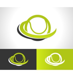 Swoosh tennis ball logo icon vector