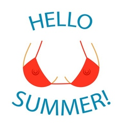 T shirt typography graphics hello summer sexy bust vector