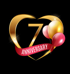 Template gold logo 7 years anniversary with ribbon vector